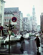 Street scene in city centre Augsburg, Bavaria, Germany 1960s
