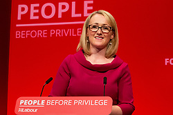 © Licensed to London News Pictures. 24/09/2019. Brighton, UK. Shadow Secretary of State for Business, Energy and Industrial Strategy, Rebecca Long-Bailey speaks at the 2019 Labour Party Conference in Brighton and Hove. Photo credit: Hugo Michiels/LNP