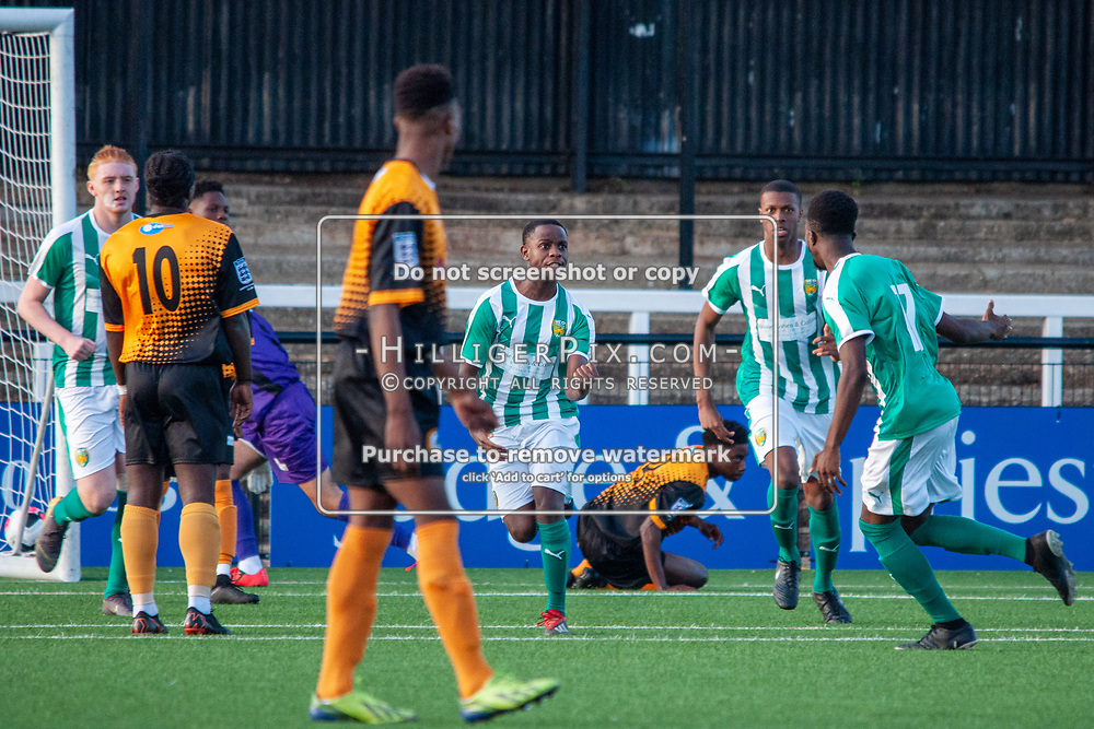 BROMLEY, UK - SEPTEMBER 04: Zhanghaza, of VCD Athletic, celebrates scoring the opening goal of the FA Youth Cup Preliminary Round match between Cray Wanderers FC and VCD Athletic at Hayes Lane on September 4, 2019 in Bromley, UK. <br /> (Photo: Jon Hilliger)