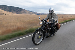 Brian Pease riding his 1916 Henderson on the Motorcycle Cannonball coast to coast vintage run. Stage 13 (254 miles) Kalispell, MT to Spokane, WA. Friday September 21, 2018. Photography ©2018 Michael Lichter.