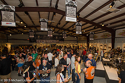 """The industry party for Michael Lichter's Motorcycles as Art show titled """"The Naked Truth"""" at the Buffalo Chip Gallery.  Sturgis, SD, USA.  July 31, 2015.  Photography ©2015 Michael Lichter."""