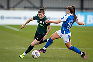 Lucy Quinn of Tottenham Hotspur Women battles for possession Rebecca Holloway of Birmingham City Women during the FA Women's Super League match between BIrmingham City Women and Tottenham Hotspur Women at Solihull Moors FC, Solihull, United Kingdom on 9 May 2021.