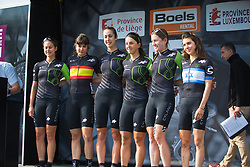 The Cylance Pro Cycling on the podium before Liege-Bastogne-Liege - a 136 km road race, between Bastogne and Ans on April 22, 2018, in Wallonia, Belgium. (Photo by Balint Hamvas/Velofocus.com)