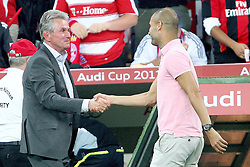 27.07.2011, Allianz Arena, Muenchen, GER, Audi Cup 2011, Finale,  FC Barcelona vs FC Bayern , im Bild Jupp Heynckes (Trainer Bayern) und Josep Guardiola (Coach Barcelona)  // during the Audi Cup 2011,  FC Barcelona vs FC Bayern  , on 2011/07/27, Allianz Arena, Munich, Germany, EXPA Pictures © 2011, PhotoCredit: EXPA/ nph/  Straubmeier       ****** out of GER / CRO  / BEL ******