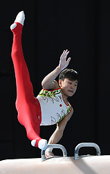 BUENOS AIRES, Oct. 12, 2018  Gold medalist Kitazono Takeru of Japan competes during the pommel horse event of artistic gymnastics men's all-around final at the 2018 Summer Youth Olympic Games in Buenos Aires, Argentina on Oct. 11, 2018. (Credit Image: © Li Jundong/Xinhua via ZUMA Wire)