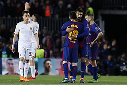 April 4, 2018 - Barcelona, Catalonia, Spain - April 4, 2018 - Barcelona, Spain - Uefa Champions League Quarter final first leg, FC Barcelona v AS Roma: Leo Messi of FC Barcelona salutes Andre Gomes of FC Barcelona. (Credit Image: © Marc Dominguez via ZUMA Wire)