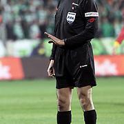 Referee's Bulent YILDIRIM during their Turkish soccer super league match Bursaspor between Galatasaray at Ataturk Stadium in Bursa Turkey on Saturday, 29 January 2011. Photo by TURKPIX