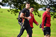 Mike Phillips of Wales arrives at the RWC Wales rugby team training at the Vale Resort, Hensol near Cardiff, South Wales on Wed 16th Sept 2015.<br /> pic by Andrew Orchard, Andrew Orchard sports photography.