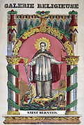 St Bernard of Clairvaux (1091-1153). French 19th century coloured wood engraving.