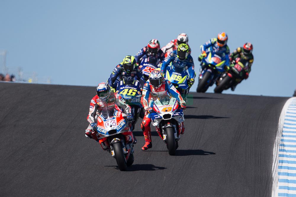 October 28, 2018 - Melbourne, Victoria, AUSTRALIE - ANDREA DOVIZIOSO - ITALIAN - DUCATI TEAM - DUCATI.JACK MILLER - AUSTRALIAN - ALMA PRAMAC RACING - HONDA.ANDREA IANNONE - ITALIAN - TEAM SUZUKI ECSTAR - SUZUKI.MAVERICK VINALES - SPANISH - MOVISTAR YAMAHA MotoGP - YAMAHA.ALEX RINS - SPANISH - TEAM SUZUKI ECSTAR - SUZUKI.HAFIZH SYAHRIN - MALAYSIAN - MONSTER YAMAHA TECH 3 - YAMAHA (Credit Image: © Panoramic via ZUMA Press)