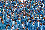 DURBAN - 4 December 2016 - Members of the Twelve Apostles Church in Christ at a thanksgiving service held at Durban's Moses Mabhida Stadium, where South African President Jacob Zuma was a guest of honour. The leader of the 4.5 million strong Twelve Apostles Church in Christ Professor Caesar Nongqunga later urged church members to deposit their savings intoo the same bank that had earlier in the year given Zuma a loan to pay for the controversial non-security upgrades to his personal residence in Nkandla. Picture: Allied Picture Press/APP