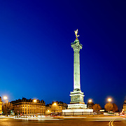 Place de la Bastille, a monument in the place where the Bastille prison used to be before being torn down during the French Revolution.