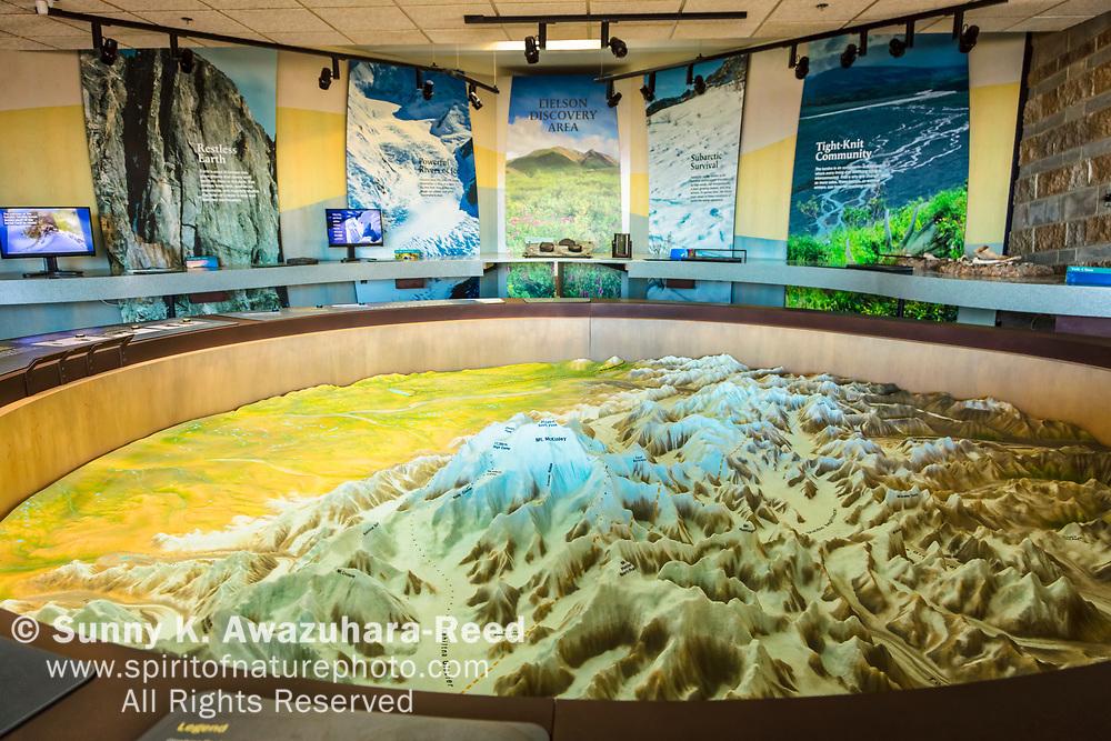 Mount Denali (McKinley) topographic map displayed inside the Eielson Visitor Center, Denali National Park & Preserve, Interior Alaska.