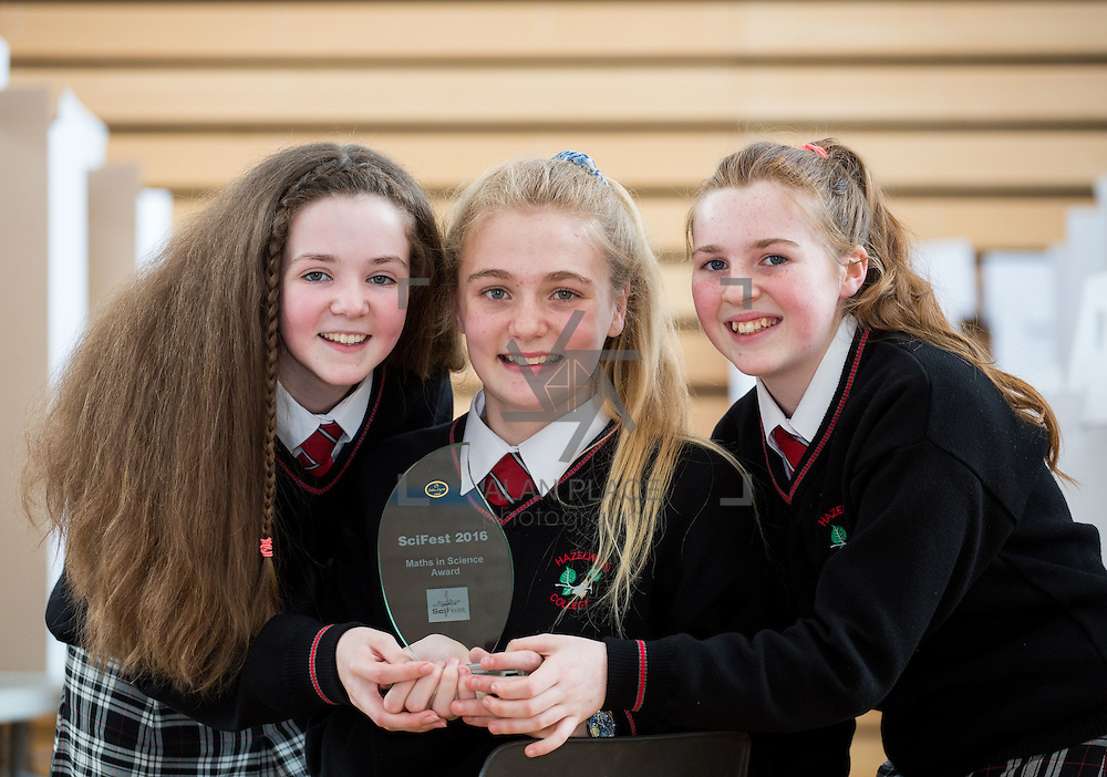 27.04.2016.          <br />  Kalin Foy and Ciara Coyle win SciFest@LIT<br /> Kalin Foy and Ciara Coyle from Colaiste Chiarain Croom to represent Limerick at Ireland's largest science competition.<br /> <br /> Pictured are Hazelwood College students, Aoife O'Callaghan, Ciara McCarthy and Roisin Normoyle' who's project, Does wisdom come with age?, won the EPISTEM best use of maths project<br /> <br /> Of the over 110 projects exhibited at SciFest@LIT 2016, the top prize on the day went to Kalin Foy and Ciara Coyle from Colaiste Chiarain Croom for their project, 'To design and manufacture wireless trailer lights'. The runner-up prize went to a team from John the Baptist Community School, Hospital with their project on 'Educating the Youth of Ireland about Farm Safety'. Picture: Fusionshooters