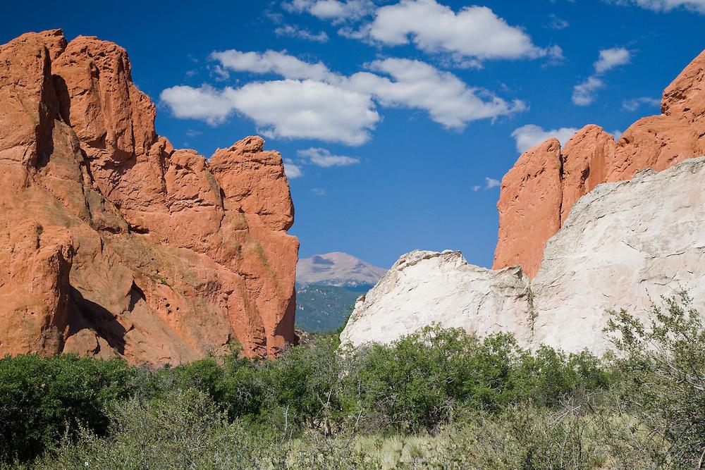 Pikes Peak as seen from Garden of the Gods, Colorado Springs, Colorado