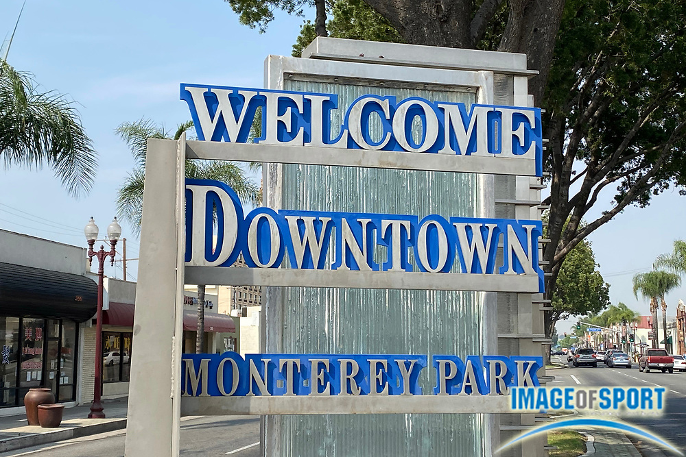 Welcome Downtown Monterey Park sign on E. Garvey Ave., Thursday, Sept. 17, 2020, in Monterey Park, Calif. .
