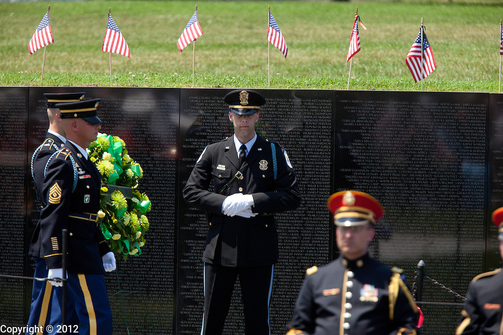 during the United States of America Vietnam War Commemoration National Announcement and Proclamation Ceremony at the Vietnam Veterans Memorial Wall.