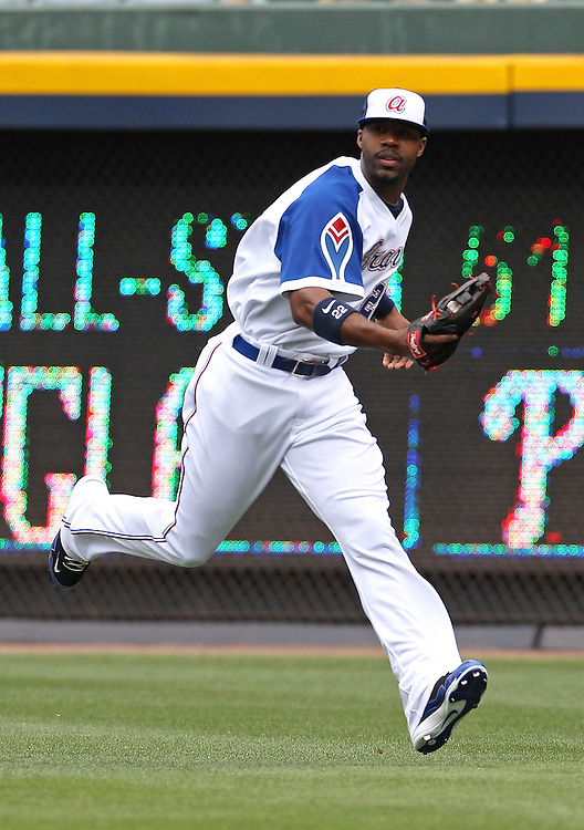 ATLANTA - MAY 15:  Right fielder Jason Heyward #22 of the Atlanta Braves makes a play on a fly ball during the MLB Civil Rights Game between the Philadelphia Phillies and the Atlanta Braves on Sunday, May 15, 2011 at Turner Field in Atlanta, Georgia.  (Photo by Mike Zarrilli/MLB Photos via Getty Images)