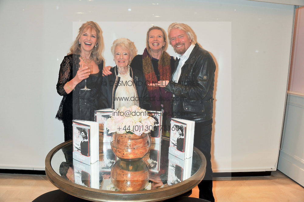 Left to right, LINDY BROCKWAY, EVE BRANSON, VANESSA BRANSON and RICHARD BRANSON at a party to celebrate the publication of Mum's The Word by Eve Branson held at Grace, West Halkin Street, London on 11th March 2013.