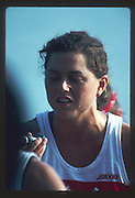 Banyoles, SPAIN, Canadian Women's Eight. Gold Medalist; Asthmatic athlete using inhaler/puffer. Kirsten BARNES , Shannon CRAWFORD , Megan DELEHANTY , Kathleen HEDDLE , Marnie McBEAN , Jessica Jessie MONROE , Brenda TAYLOR , Kay WORTHINGTON , Lesley THOMPSON - WILLIE (c) awards dock and  competing in the 1992 Olympic Regatta, Lake Banyoles, Barcelona, SPAIN.   [Mandatory Credit: Peter Spurrier: Intersport Images]