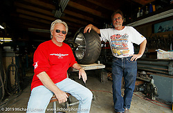 Arlen Ness with one of his fabricators, Bob Mun Munroe, at Bob's shop. CA. Photography ©200 Michael Lichter.