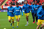 AFC Wimbledon attacker Ryan Longman (29) warming up prior to kick off during the EFL Sky Bet League 1 match between Charlton Athletic and AFC Wimbledon at The Valley, London, England on 12 December 2020.