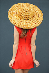 LIVERPOOL, ENGLAND - Friday, April 4, 2014: Sarah Morris of Manchester wearing a hat made of Jacobs Mini-Chedders during Ladies' Day on Day Two of the Aintree Grand National Festival at Aintree Racecourse. (Pic by David Rawcliffe/Propaganda)
