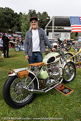 BF11 Invited Builder David Morales with his 1957 Triumph Firebird custom at the Born-Free Vintage Motorcycle show at Oak Canyon Ranch, Silverado, CA, USA. Sunday, June 23, 2019. Photography ©2019 Michael Lichter.