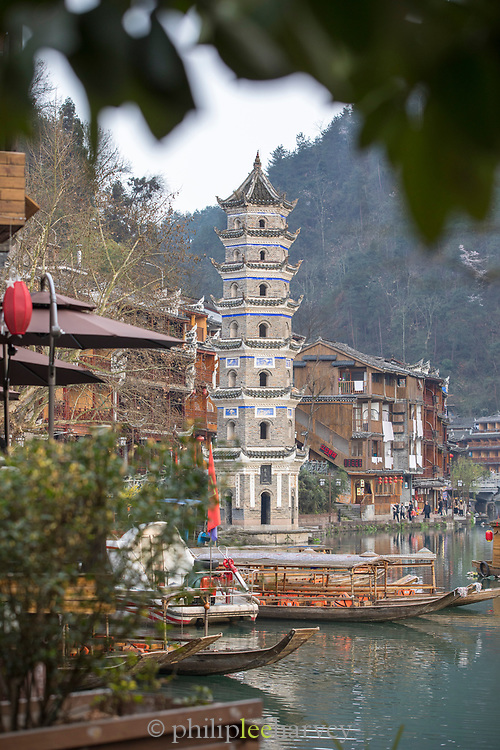 View of an ancient Chinese pagoda in an old town, Fenghuang tower, Fenghuang, Hunan Province, China