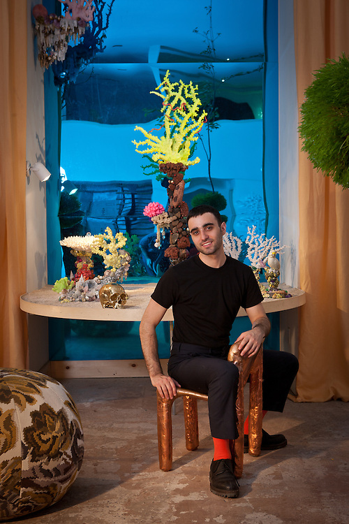 Andrew Yes, honorary designer of BOFFO Show House 2012, Andrew Yes Tapestry pillow ball with Maharam deconstructed rose fabric, Andrew Yes and Eduardo Garza Underwater Coral series, Eduardo Garza 24K gold-plated Philosopher's Skull, Max Lamb  (Johnson Trading Gallery) copper chair, Ovando: Floral Design and Event Production Hanging Tree