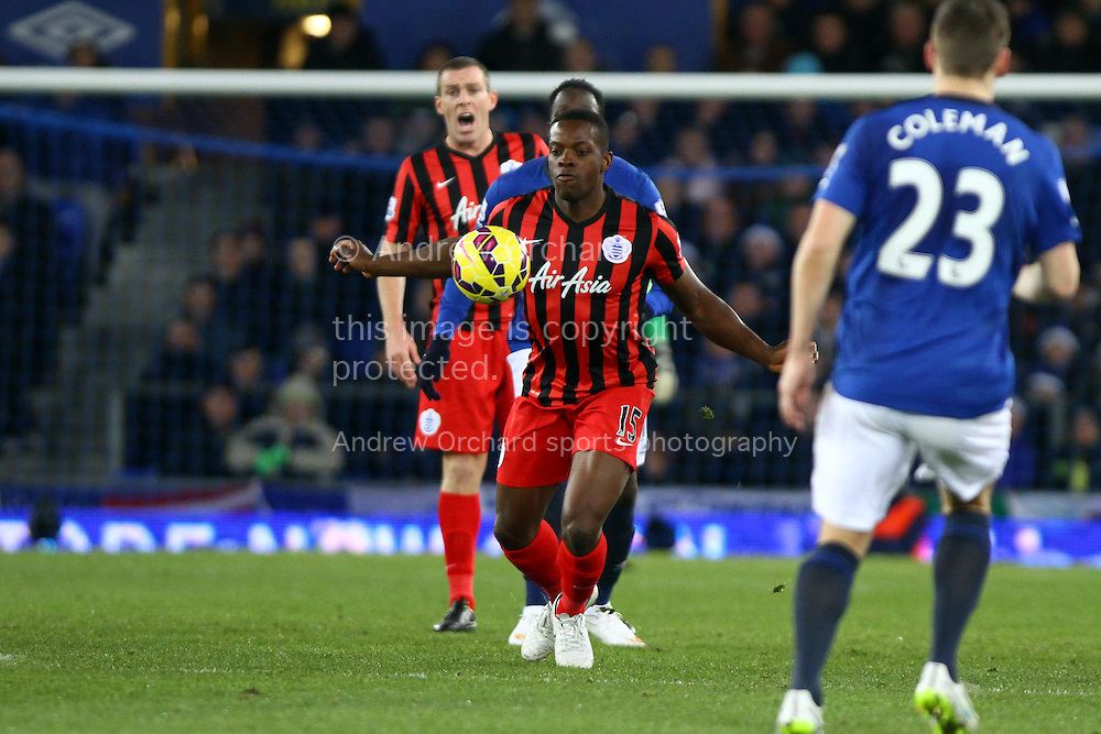 Nedum Onuoha of Queens Park Rangers shields the ball. Barclays Premier league match, Everton v Queens Park Rangers at Goodison Park in Liverpool, Merseyside on Monday 15th December 2014.<br /> pic by Chris Stading, Andrew Orchard sports photography.
