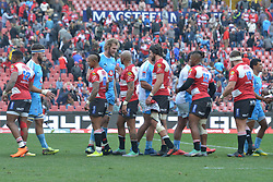14-07-18 Johannesburg. Emirates Airlines Park. Emirates Lions vs Vodacom Blue Bulls.<br /> 2nd half. Bulls and Lions shake hands after the game. The Lions won with the final score was 38-12.<br /> Picture: Karen Sandison/African News Agency (ANA)
