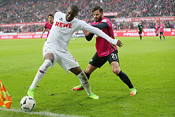 COLOGNE, March 19, 2017  Anthony Modeste (L) of 1. FC Koeln vies for the ball during the Bundesliga match between 1. FC Koeln and Hertha BSC in Cologne, Germany, on March 18, 2017. The team of 1. FC Koeln won 4-2. (Credit Image: © Ulrich Hufnagel/Xinhua via ZUMA Wire)