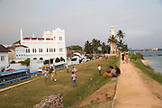 Fort ramparts of historic town of Galle, Sri Lanka, Asia with lighthouse and Meeran Jumma mosque