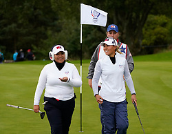 Auchterarder, Scotland, UK. 14 September 2019. Saturday afternoon Fourballs matches  at 2019 Solheim Cup on Centenary Course at Gleneagles. Pictured; Danielle Kang (r)  and Lizette Salas of Team USA.  Iain Masterton/Alamy Live News