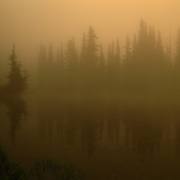 Reflection Lake and morning fog in Mt. Rainier National Park, WA.