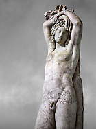 Statue of Narcissus known as The Marazin Hermaphrodite or The Genie at Eternal Rest - a 3rd century AD Roman marble statue. The restoration combines an ancient  funeral head with another ancient Roman statue. The Mazarin Collection Inv No. MR 207 or Ma 435, Louvre Museum, Paris. .<br /> <br /> If you prefer to buy from our ALAMY STOCK LIBRARY page at https://www.alamy.com/portfolio/paul-williams-funkystock/greco-roman-sculptures.html- Type -    Louvre    - into LOWER SEARCH WITHIN GALLERY box - Refine search by adding a subject, place, background colour,etc.<br /> <br /> Visit our CLASSICAL WORLD HISTORIC SITES PHOTO COLLECTIONS for more photos to download or buy as wall art prints https://funkystock.photoshelter.com/gallery-collection/The-Romans-Art-Artefacts-Antiquities-Historic-Sites-Pictures-Images/C0000r2uLJJo9_s0c