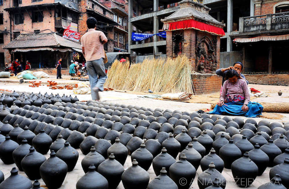 Nepal, Bhaktapur. Pottery Square in Bhaktapur - one ofe the most beautiful places in Kathmandu Valley and the most popular tourist sites in Nepal.