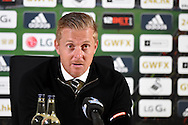 Garry Monk , the Swansea city manager speaks to the media in the post match press conference. Barclays premier league match, Swansea city v Tottenham Hotspur at the Liberty Stadium in Swansea, South Wales on Sunday 4th October 2015.<br /> pic by  Andrew Orchard, Andrew Orchard sports photography.