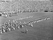 Kerry and Galway parade onto the pitch lead by the Artane Boys Band,.All Ireland Senior Football Championship Final, Kerry vs Galway,27.09.1959, 09.27.1959, 27th September 1959, 27091959AISFCF, Kerry 3-7 Galway 1-4, .