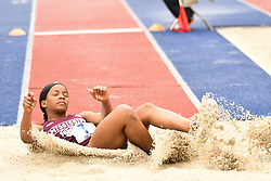April 27, 2018 - Philadelphia, Pennsylvania, U.S - AKEXIS FARLEY, of Mississippi State, in action in the CW triple jump championship at the 124th running of the Penn Relays at Franklin Field in Philadelphia PA (Credit Image: © Ricky Fitchett via ZUMA Wire)
