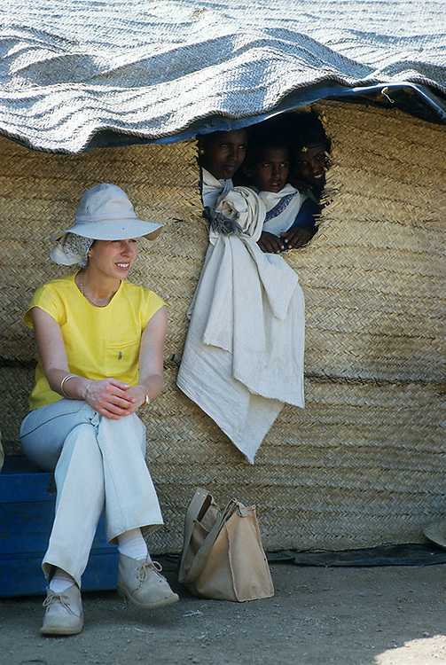 Anne, The Princess Royal seen during a visit to the Safawa Refugee Camp in Sudan in 1985. Photograph by Jayne Fincher