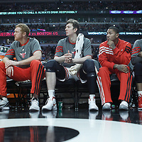26 March 2012: Chicago Bulls guard Jimmy Butler (21), Chicago Bulls power forward Brian Scalabrine (24), Chicago Bulls center Omer Asik (3), Chicago Bulls point guard Derrick Rose (1) and Chicago Bulls forward Taj Gibson (22) are seen on the bench during the Denver Nuggets 108-91 victory over the Chicago Bulls at the United Center, Chicago, Illinois, USA. NOTE TO USER: User expressly acknowledges and agrees that, by downloading and or using this photograph, User is consenting to the terms and conditions of the Getty Images License Agreement. Mandatory Credit: 2012 NBAE (Photo by Chris Elise/NBAE via Getty Images)
