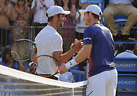 Tennis - 2017 Aegon Championships [Queen's Club Championship] - Day Two, Monday<br /> <br /> Men's Singles, Round of 32<br /> Andy Murray [GBR] vs. Jordan Thompson [Aus]<br /> <br /> Jordan Thompson at the net after winning the biggest game of his career over the no 1 in the World, Andy Murray on Centre Court <br /> <br /> COLORSPORT/ANDREW COWIE