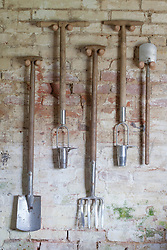 Tools hanging on wall in shed