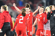 Angharad James (8) of Wales celebrates at full time after Wales held England to a 0-0 draw during the FIFA Women's World Cup UEFA Qualifier match between England Ladies and Wales Women at the St Mary's Stadium, Southampton, England on 6 April 2018. Picture by Graham Hunt.