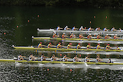 2006 FISA World Cup, Lucerne, SWITZERLAND, 07.07.2006. Women's Eights bottom to top, GBR W8+, ROM W8+, NED W8+, FRA W8+. Photo  Peter Spurrier/Intersport Images email images@intersport-images.com.[Friday Morning]....[Mandatory Credit Peter Spurrier/Intersport Images... Rowing Course, Lake Rottsee, Lucerne, SWITZERLAND.