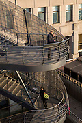 Stairway coming from London Bridge onto Hanseatic Walk, right outside Bryan Cave Leighton Paisner in Central London, United Kingdom.