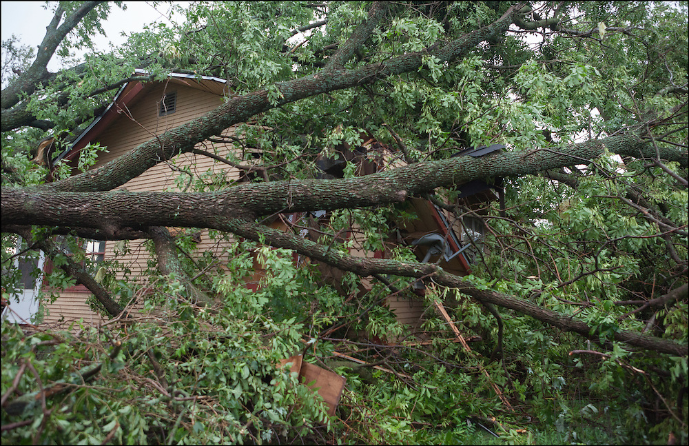 A large tree fell over a house damaging a corner of it from an EF-2 tornado in Eureka, Kansas.