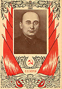 Soviet poster depicting Lavrentiy Beria (1899-1953) head of the NKVD, the Soviet secret police from 1940 until his death.